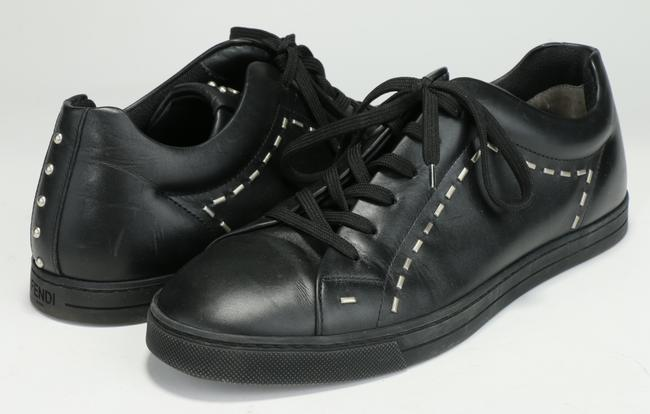 Item - Black Face-embellished Low-top Leather Trainers Shoes