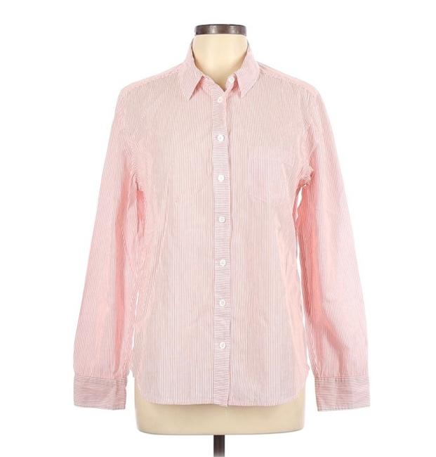Item - White/Pinky Red Stripe None Button-down Top Size 12 (L)