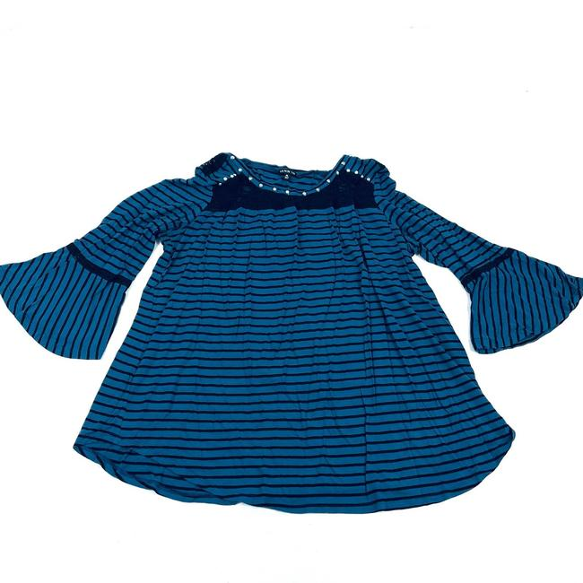 Item - Blue XL Striped 3/4 Bell Sleeve Lace Detail and Black Stripe Blouse Size 16 (XL, Plus 0x)