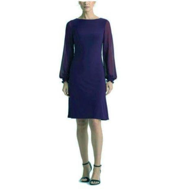 Item - Blue Jersey Long Sleeve Mid-length Cocktail Dress Size 22 (Plus 2x)