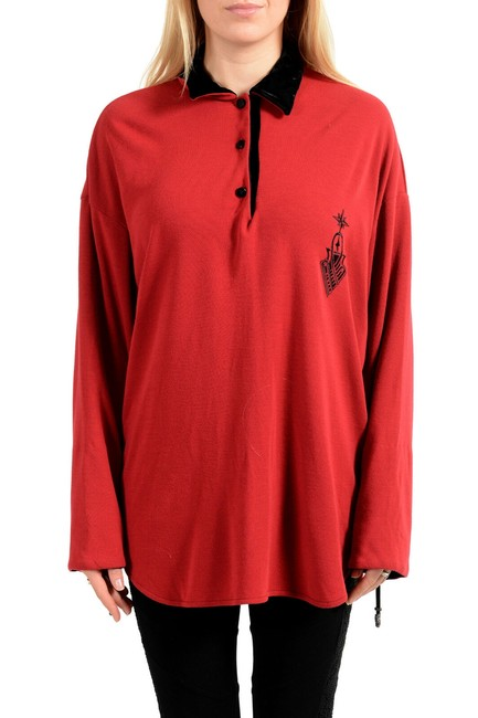 Item - Red Women's Bright Polo Style Blouse Size 12 (L)