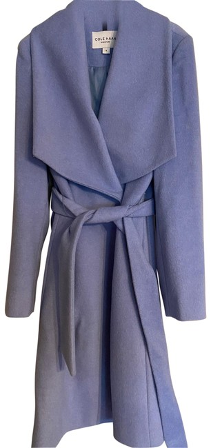 Item - Ice Blue Belted Wrap Coat Size 6 (S)