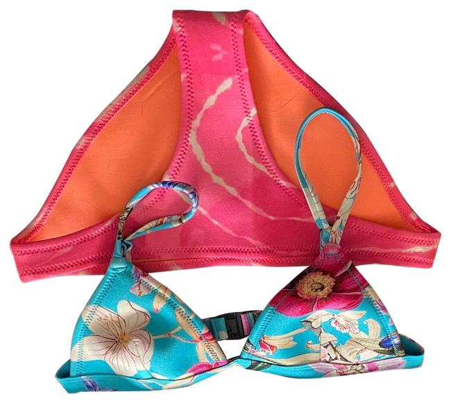 Item - Blue and Pink Floral Bikini Set Size 4 (S)