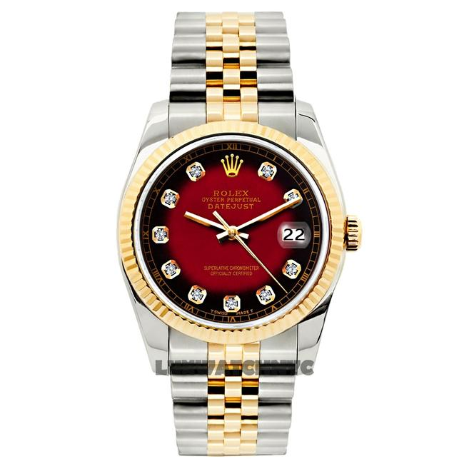 Item - Red and Black Dial 26mm Datejust Gold S/S with Appraisal Watch