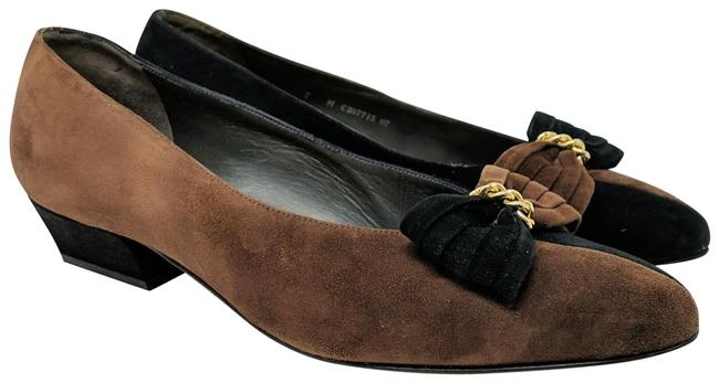 Item - Brown Two Tone with Bow Pumps Size US 7 Regular (M, B)