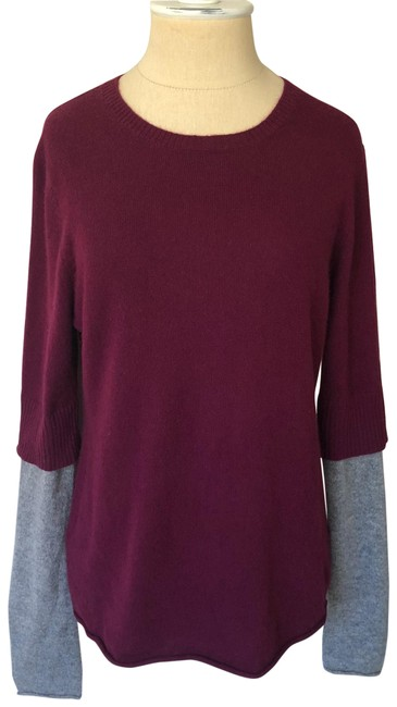 Item - Crew Neck Colorblock Cashmere Maroon and Gray Sweater