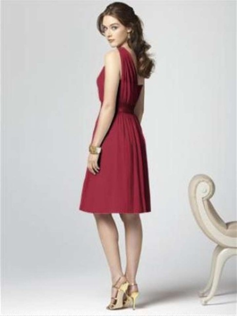 Dessy One Shoulder Cocktail Length Chiffon Dress