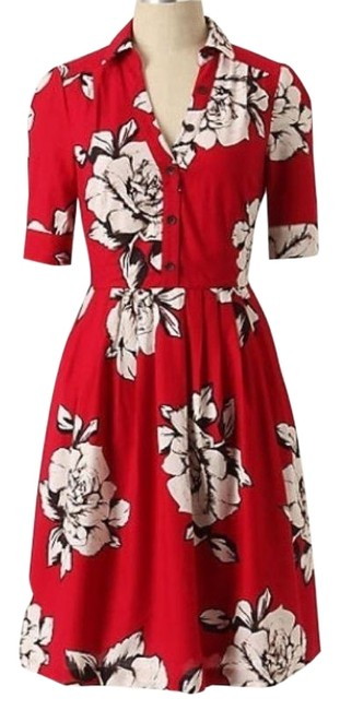 Item - Red and White Maeve Dagmar Shirtdress Short Work/Office Dress Size 6 (S)