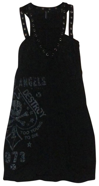 Item - Black with Silver Illusions Short Night Out Dress Size 2 (XS)