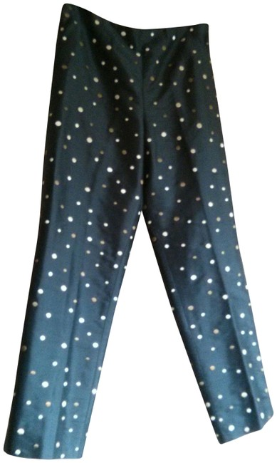 Item - Navy Pure Silk Embroidered Confetti Dot Pants Size 4 (S, 27)