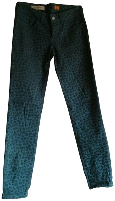 Item - Pilcro and The Letterpress Blue Stet In Velvet Leopard Skinny Jeans Size 25 (2, XS)