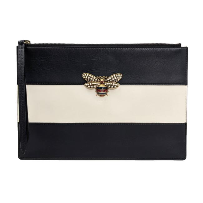 Item - White Striped Bee Black Leather Clutch