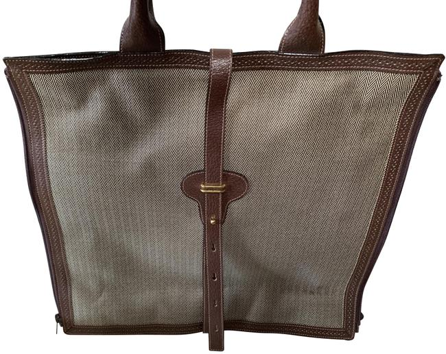 Item - Linen/Leather Flat Tote Brown Linen & Leather Trim Laptop Bag