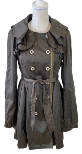 Item - Brown Green Elevenses Engla Satin Trench Coat Jacket Size 8 (M)