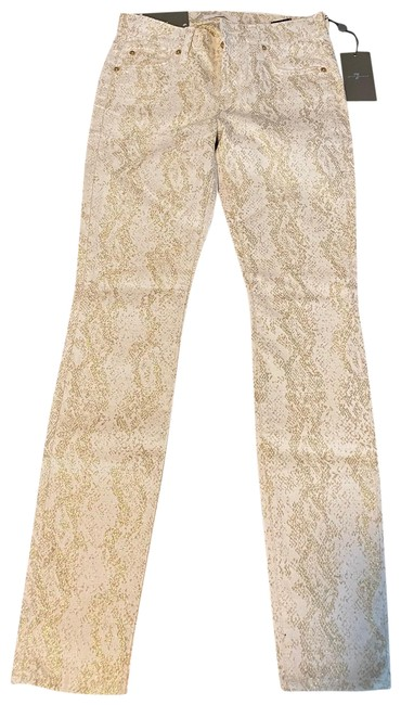 Item - Gold and White Rn#115561 Ca#56266 Skinny Jeans Size 0 (XS, 25)
