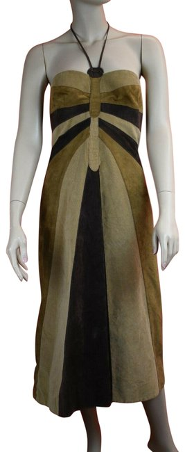 Item - Brown Cotton Sleeveless Zip Halter Lining 46 Us Italy Long Short Casual Dress Size 10 (M)