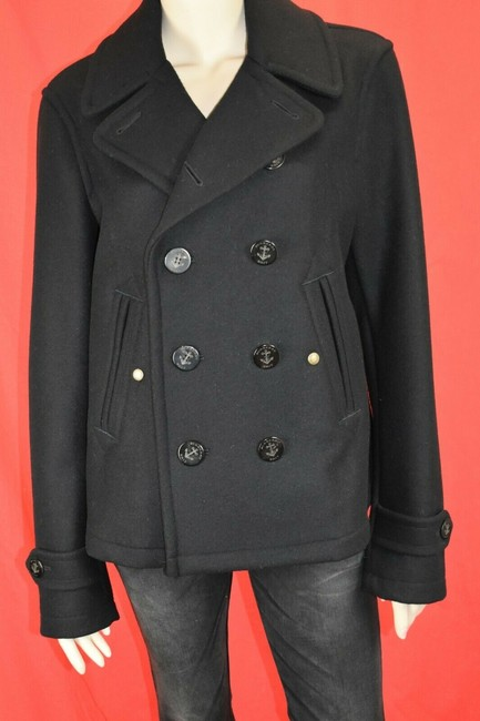 Item - Black Swiftsure Wool Logo Buttons Double Breasted Coat M Tuxedo