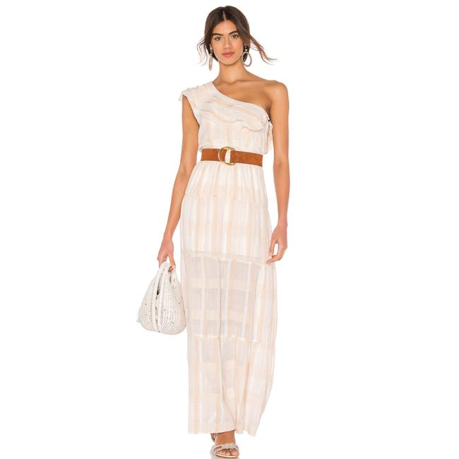 Item - White Avery One Shoulder Stripe Long Casual Maxi Dress Size 4 (S)
