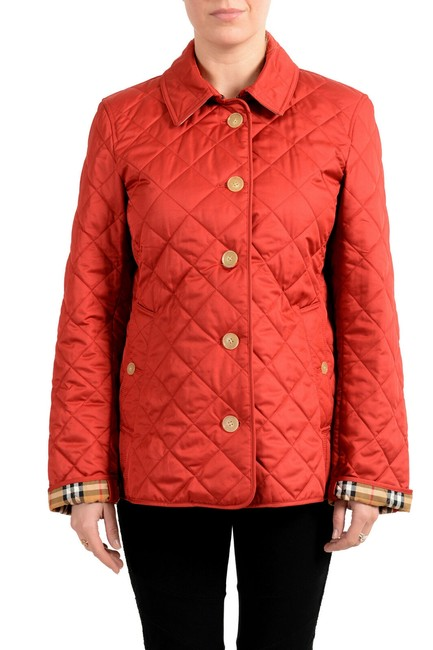 Item - Red Women's Quilted Button Down Jacket Coat Size 12 (L)