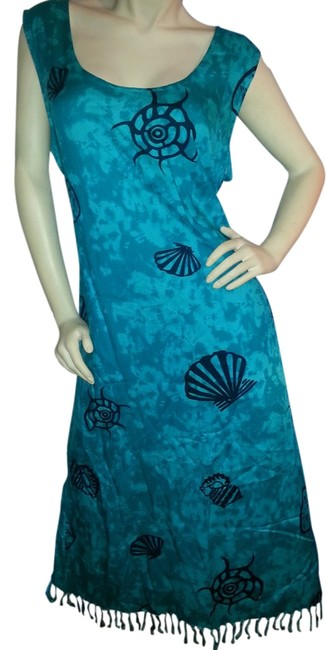 Preload https://item2.tradesy.com/images/teal-green-batik-and-navy-sleeveless-shift-sea-shell-with-fringed-hemline-mid-length-casual-maxi-dre-2827036-0-0.jpg?width=400&height=650