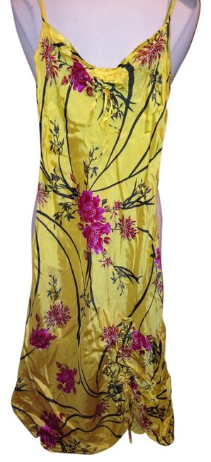 Item - Yellows Blacks Pink Multi Mid-length Night Out Dress Size 6 (S)