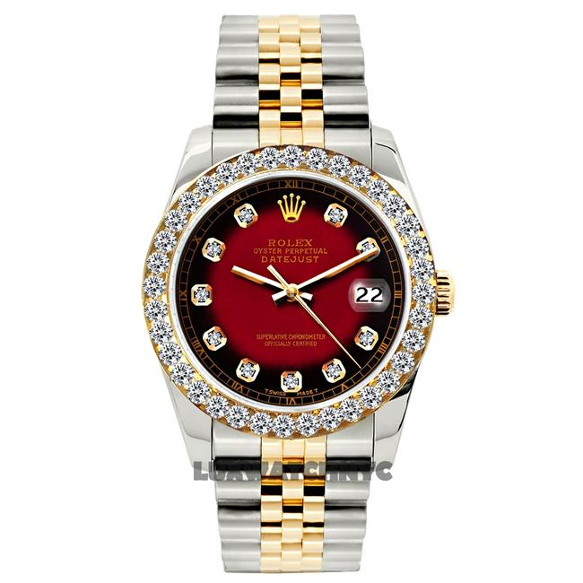 Item - Red and Black Dial 1.2ct 26mm Datejust Gold S/S with Appraisal Watch