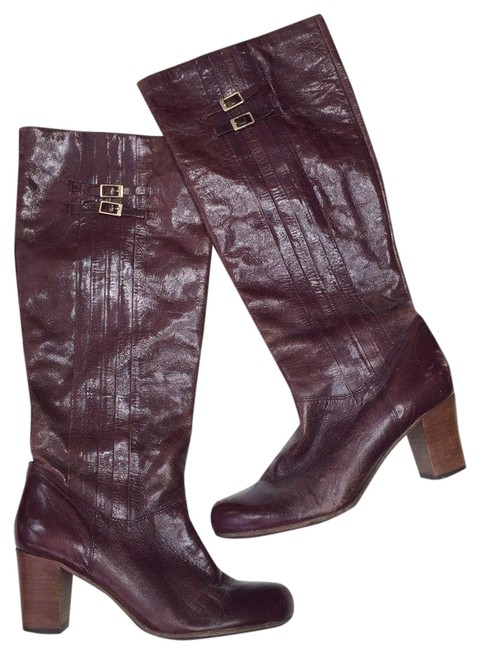 Item - Red Burgundy Nora Pleated High Heel Leather Boots/Booties Size US 7 Regular (M, B)