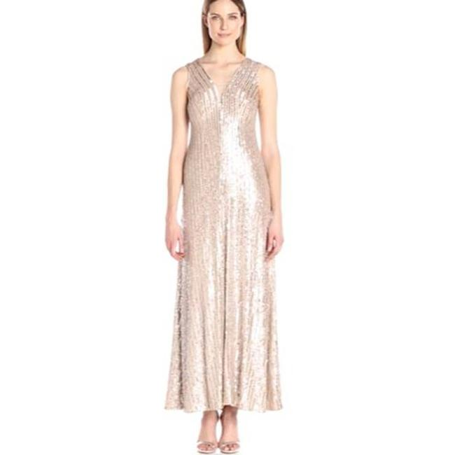 Item - Cream Sequin Striped Beaded Gown Champagne Formal Dress Size 2 (XS)
