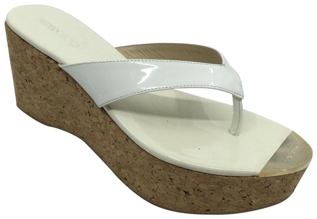 Item - Off- White Patent Leather Cork Thong Sandals Wedges Size US 9.5 Regular (M, B)