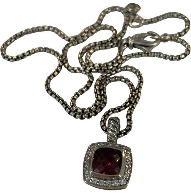 Item - Garnet Red Petite Albion Diamond Pendant and Chain Necklace