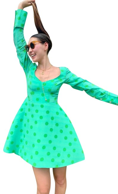 Item - Green Multiple 38(4-6) Polka Dot Fit and Flare Short Night Out Dress Size 4 (S)