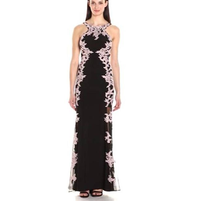 Item - Black Womens Embroidered Lace Sides Ball Gown Blush Long Formal Dress Size 6 (S)