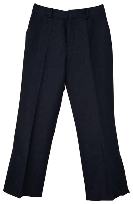 Item - Blue Womens Linen Blend Cropped Trousers Navy Pants Size 4 (S, 27)