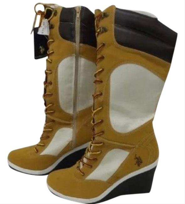 Item - Tan White Assn Tall Wedge Boots/Booties Size US 10 Wide (C, D)