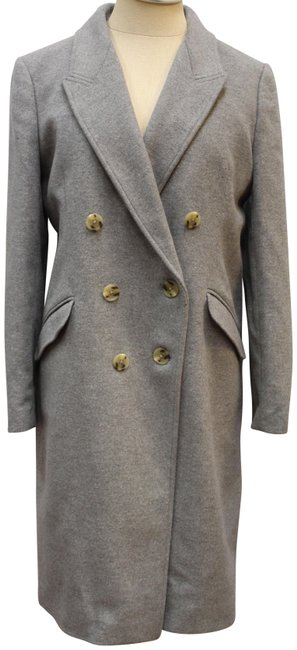 Item - Gray Double Breasted Jacket Overcoat Wool Cashmere Coat Size Petite 8 (M)