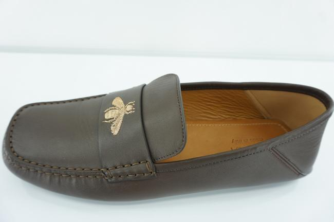 Item - Brown Mens Embroydered Bee Leather Driving Loafer Shoes
