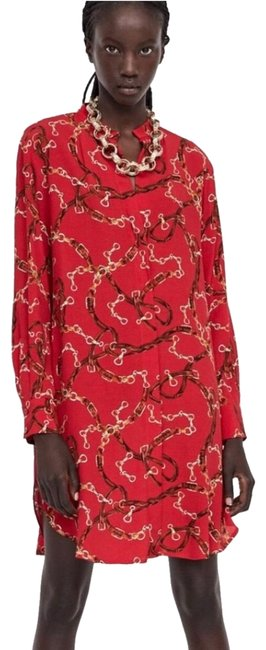 Item - Red XS Versace Style Chain Mid-length Work/Office Dress Size 2 (XS)