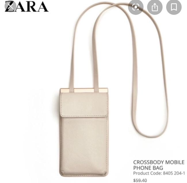 Item - Cell Holder Cc Wallet Cream Faux Leather Cross Body Bag