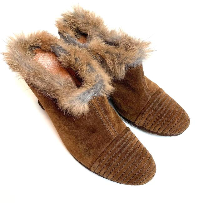Item - Brown Fleming Wedge Heels Booties Ankle Boots Suede Fur 6 Mules/Slides Size EU 36 (Approx. US 6) Regular (M, B)