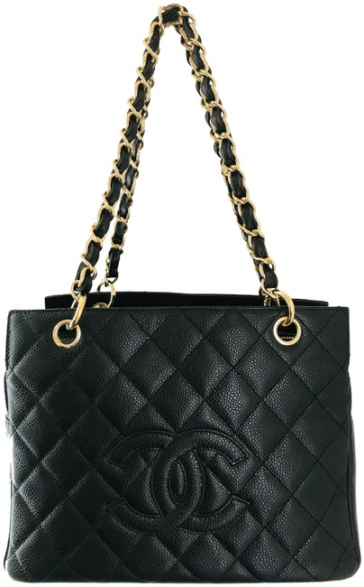 Item - Timeless Caviar Quilted Petit Ptt Black Leather Tote