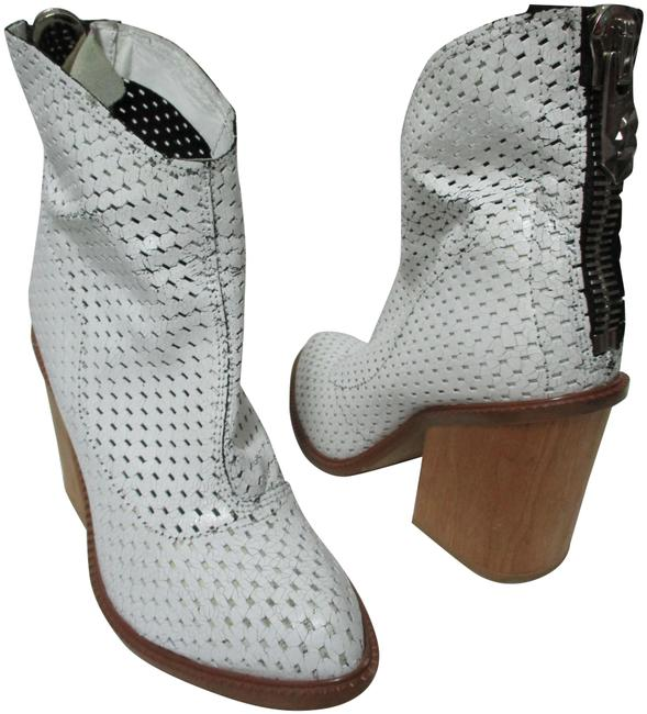 Item - White Perforated Leather Block Wedge Back Zipper Ankle Boots/Booties Size US 7 Regular (M, B)