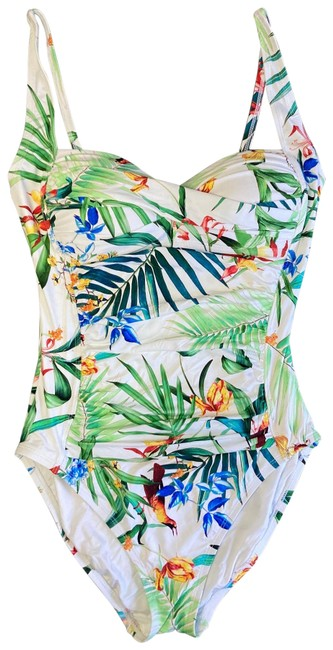 Item - White/Floral One-piece Bathing Suit Size 6 (S)