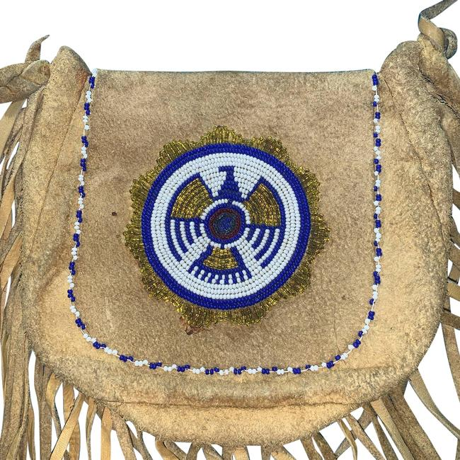 Item - Shoulder Native 40s-70s Fringed Suede Beaded Hippie Boho Tan Leather Cross Body Bag