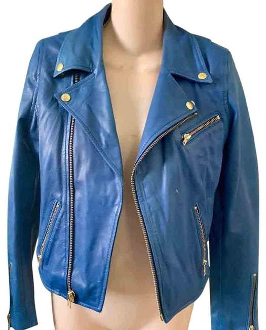 Item - Blue Fitted Leather Moto Maternity Outerwear Size 2 (XS)