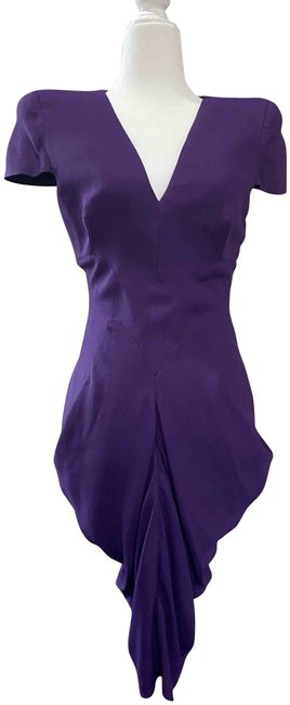 Item - Purple Fold Details Mid-length Night Out Dress Size 4 (S)