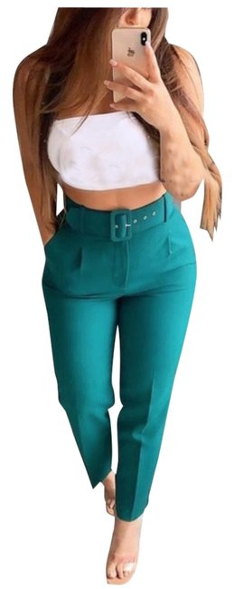 Item - Green Belted High-waisted Pants Size 8 (M, 29, 30)