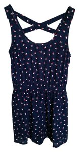Forever 21 Flirty Romper Top Navy Blue Nautical Print