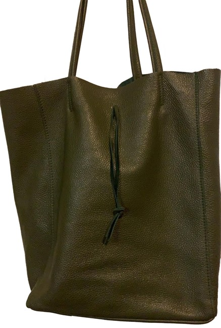 Item - Genuine Made Italy Olive Green Lambskin Leather Tote