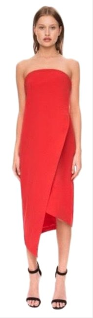 Item - Red Visionary Mid-length Cocktail Dress Size 6 (S)