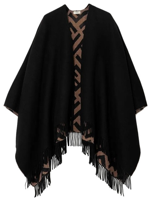 Item - Reversible Fringed Intarsia Wool and Cashmere-blend Wrap Poncho/Cape Size OS (one size)